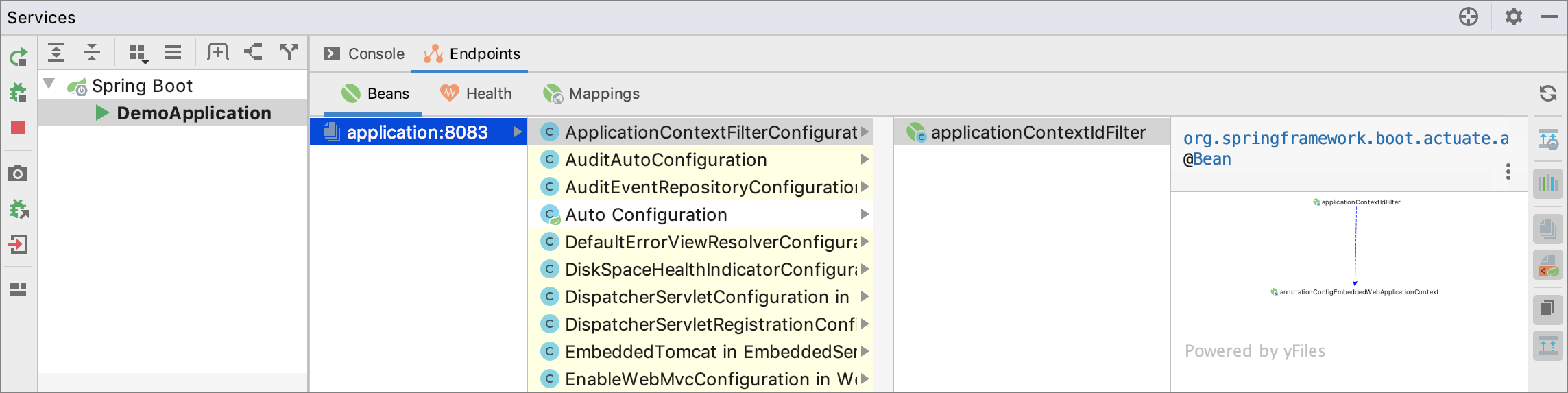 Spring endpoints shown in Services tool window