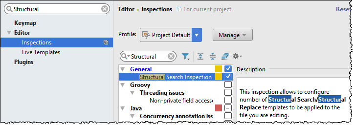 The Structural search and replace inspection shown in the settings