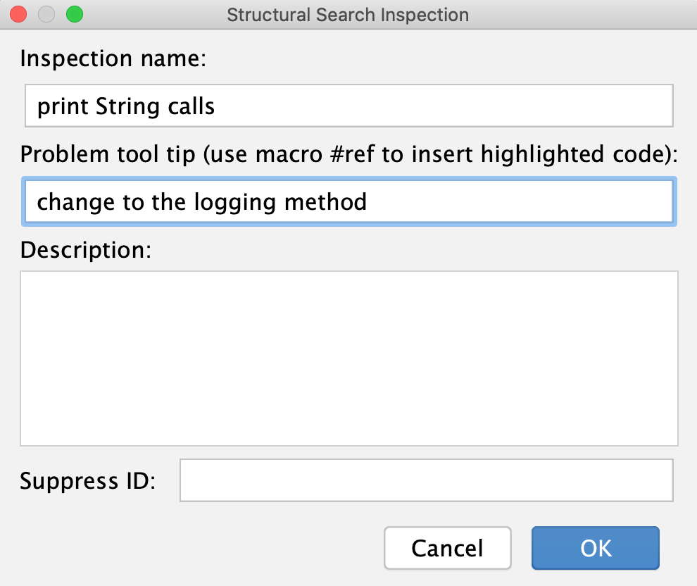 the Structural Search Inspection dialog