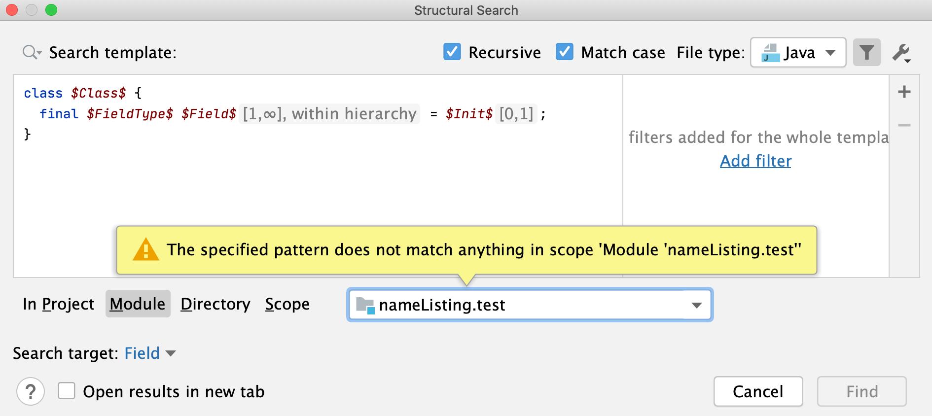 Structural Search dialog: module scope
