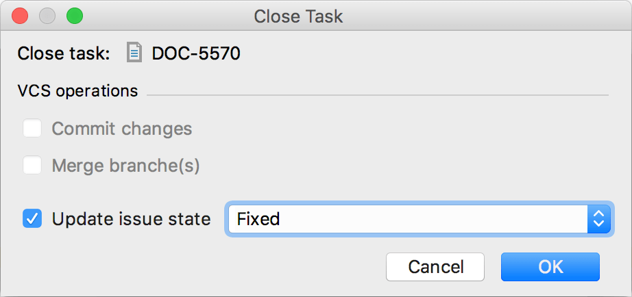 Closing a task