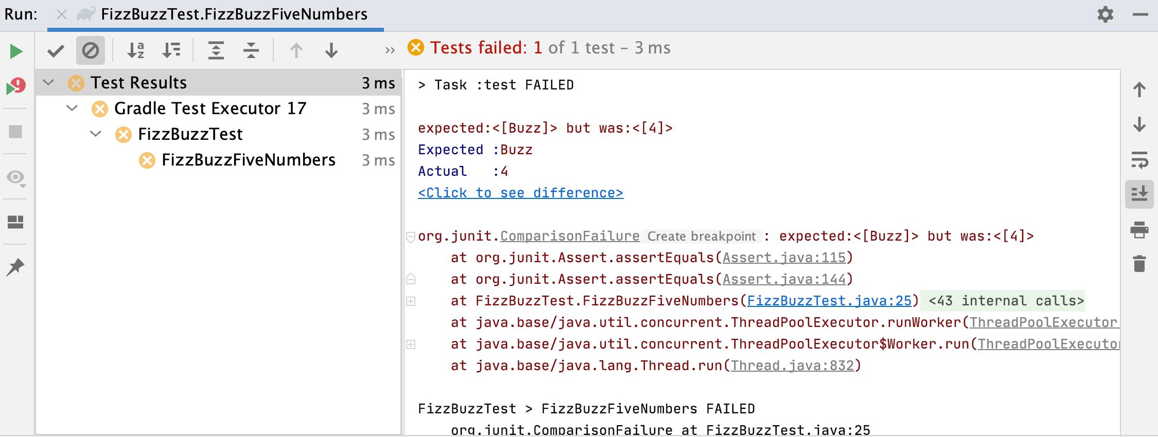 Run tool window / test failed