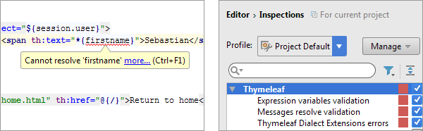 Thymeleaf code inspections