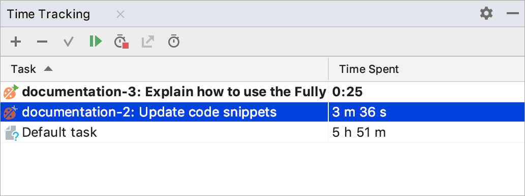 Time Tracking tool window with two ongoing tasks