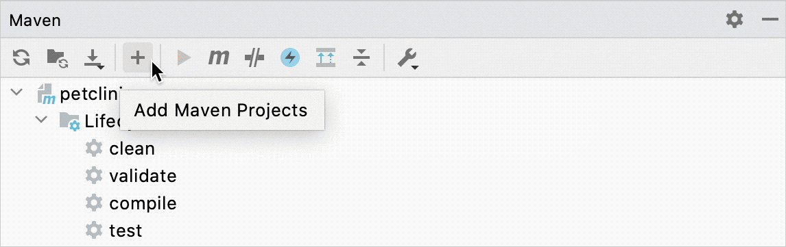Buttons on the Maven toolbar with tooltips