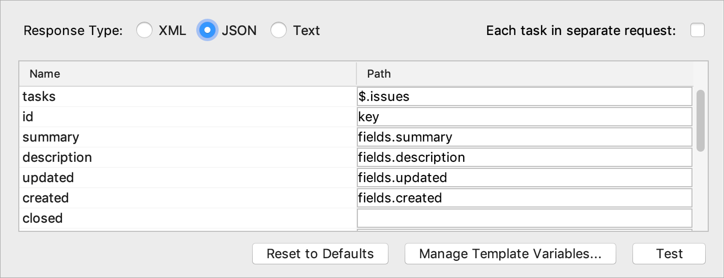 Configuring a response type and specifying selectors