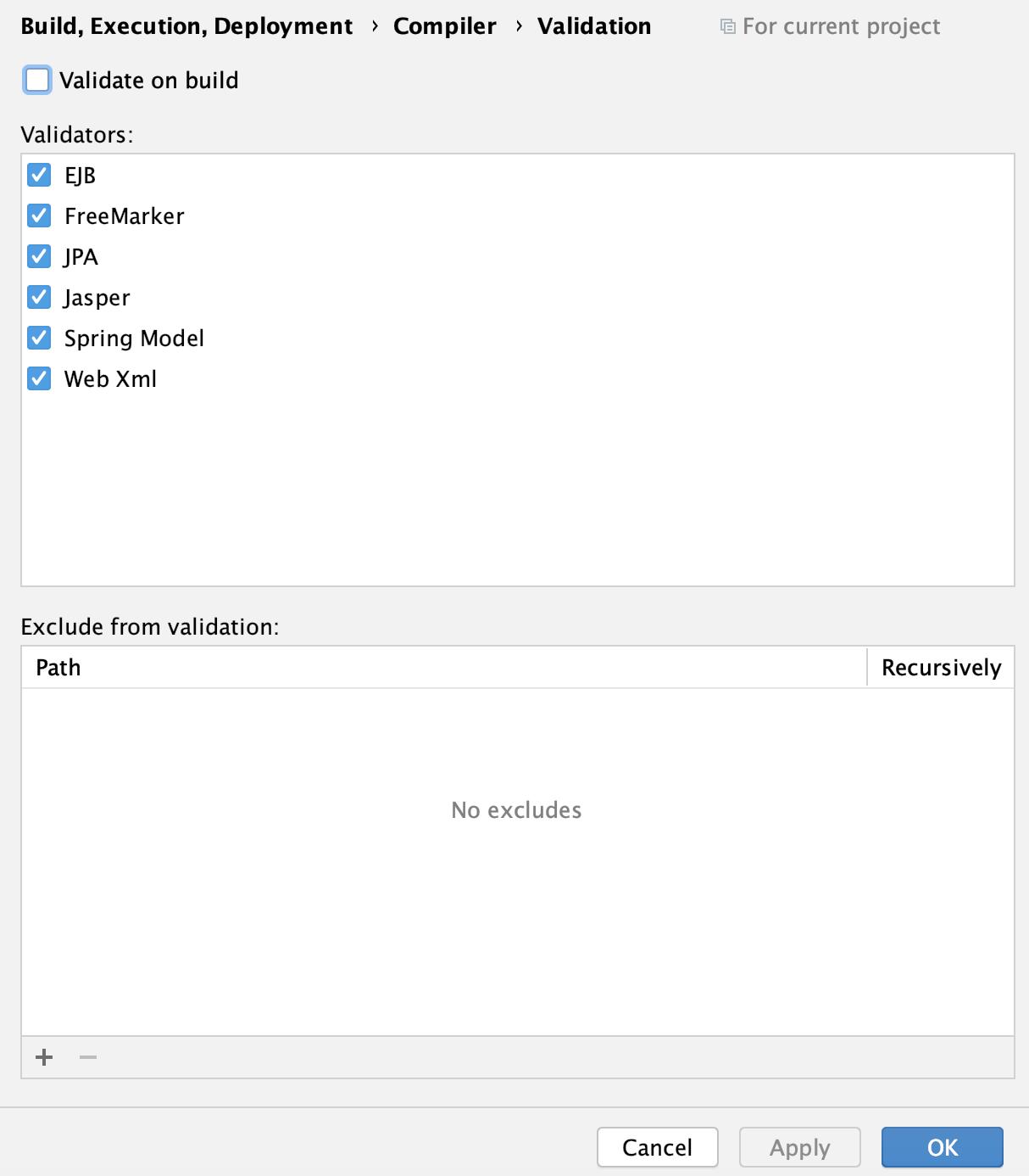 the Validation settings