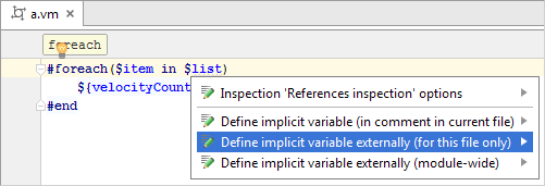 Example template language intentions for fixing unresolved referecnes