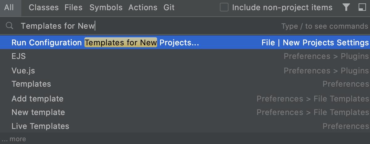 Create a run/debug configuration template