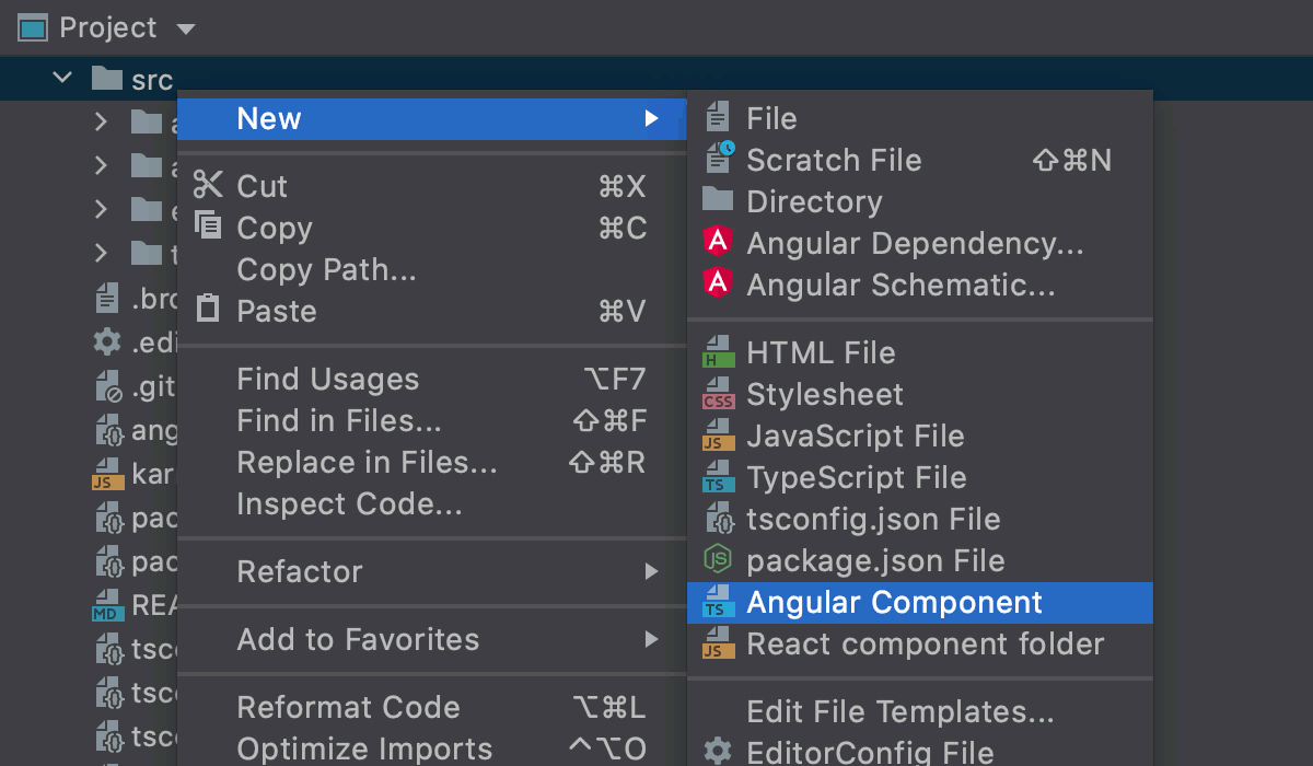 Create an Angular component from a multiple files template in a separate folder