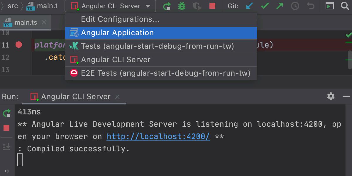 Start a debugging session via a run configuration