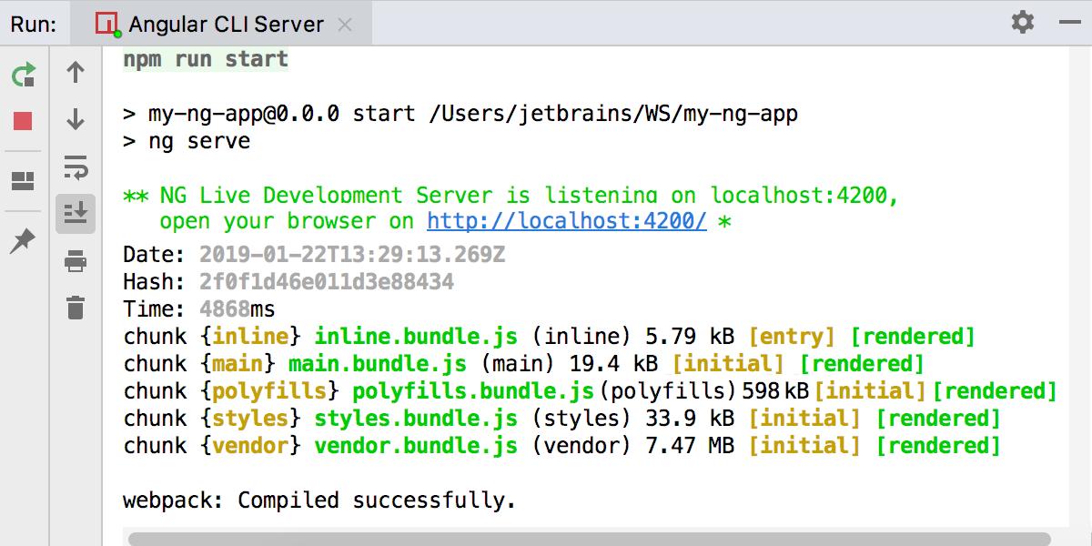 Running Angular CLI app: the Webpack Development server is ready