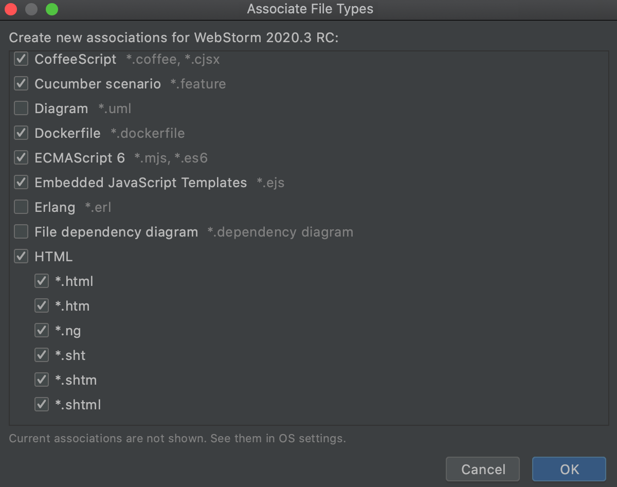 Associating file types with the IDE