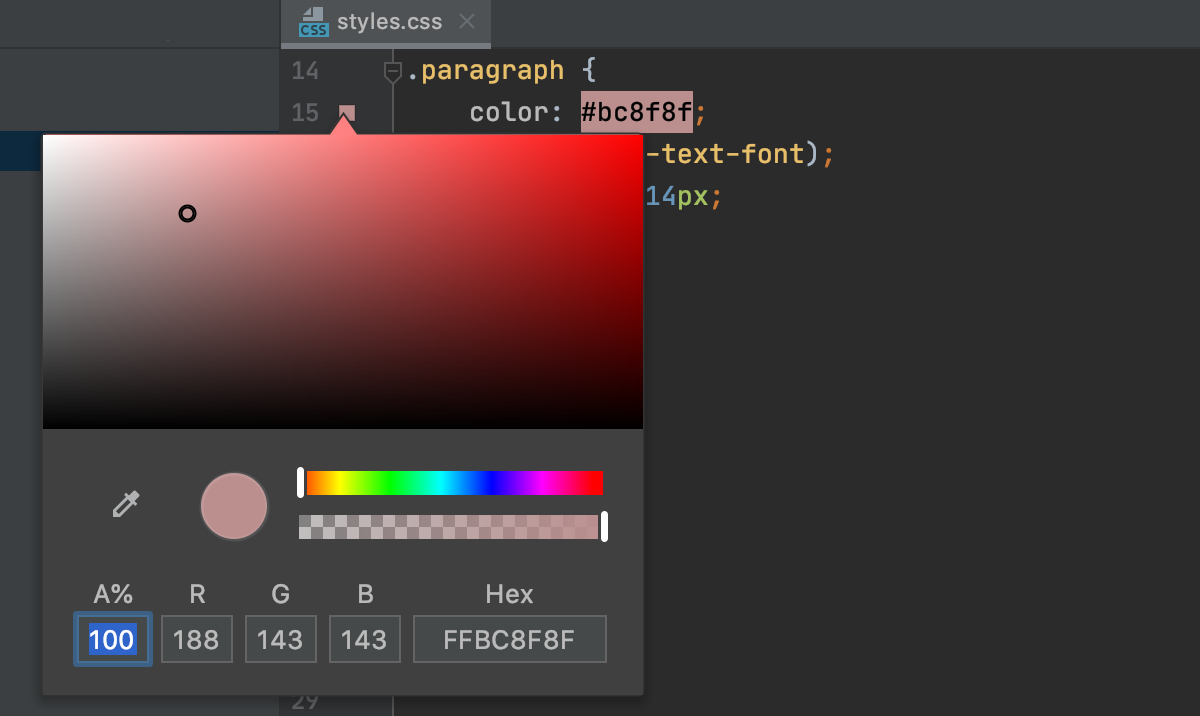 Click color gutter icon to open the color picker