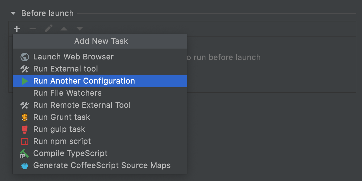 Adding a run configuration as a before-launch task to ensure the order of execution
