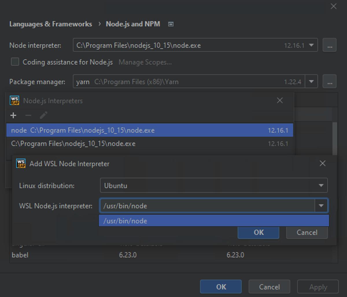 Configuring Node.js on WSL as the default project node interpreter