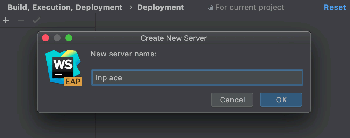 Configure an inplace server
