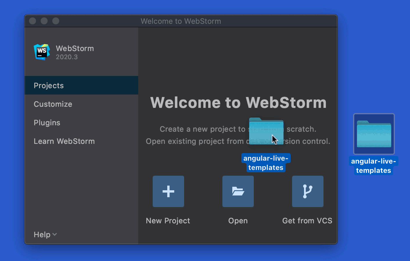 Creating a new WebStorm project by dragging a folder to the Welcome Screen