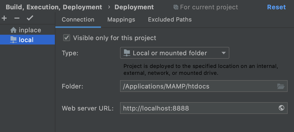 Specify the server configuration root and the URL address to access it