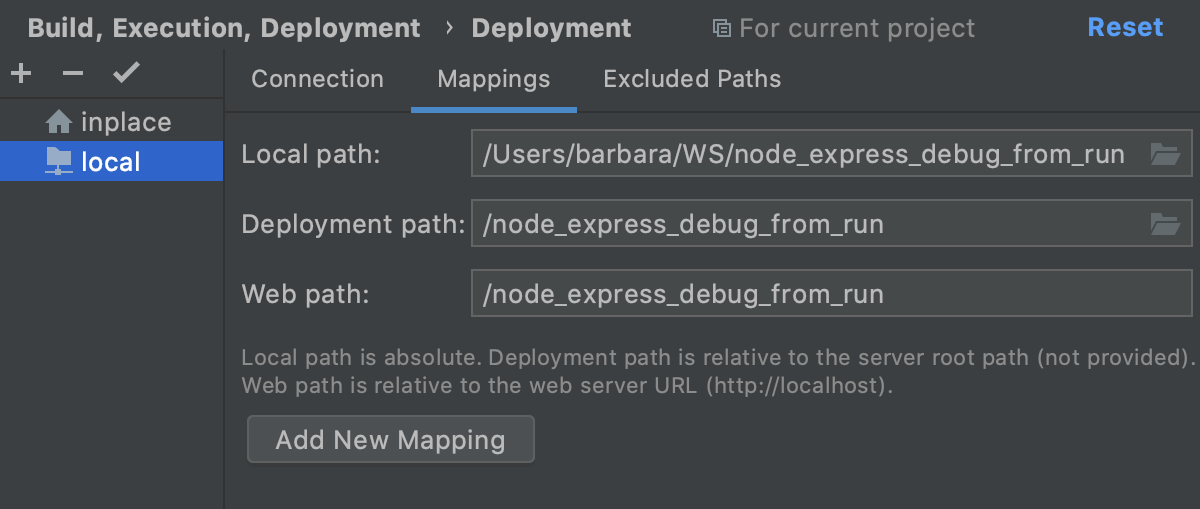 Map project folders to folders on the server and the URL addresses to access them