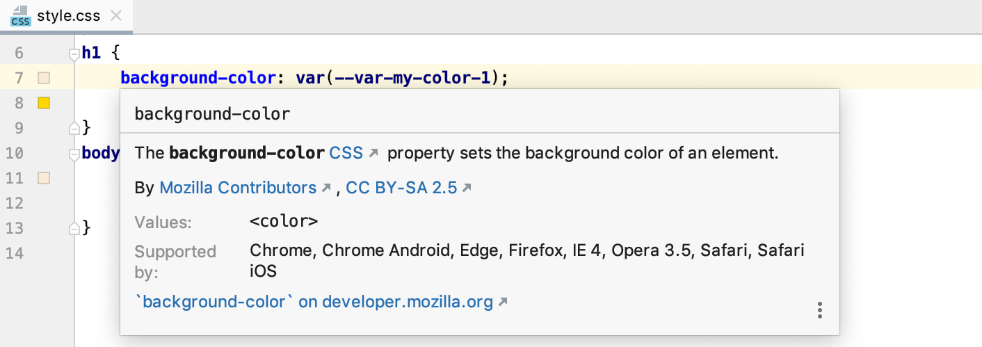 Style sheets quick documentation: compatible browsers are listed