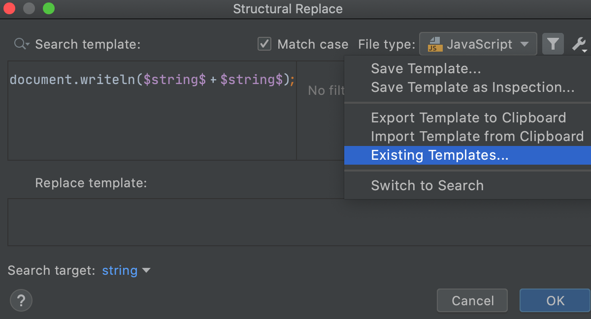 The Structural Replace dialog