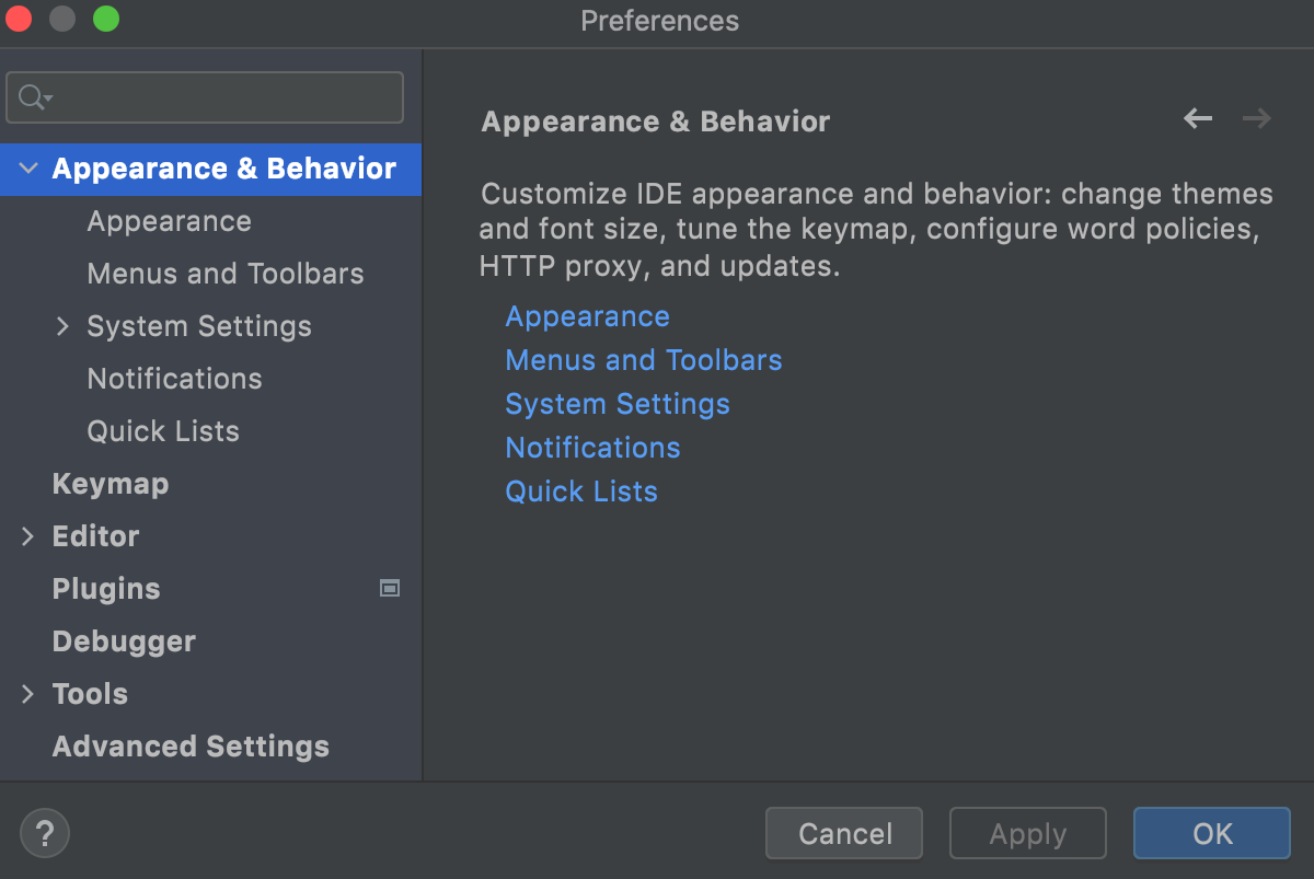 the Appearance and Behavior settings