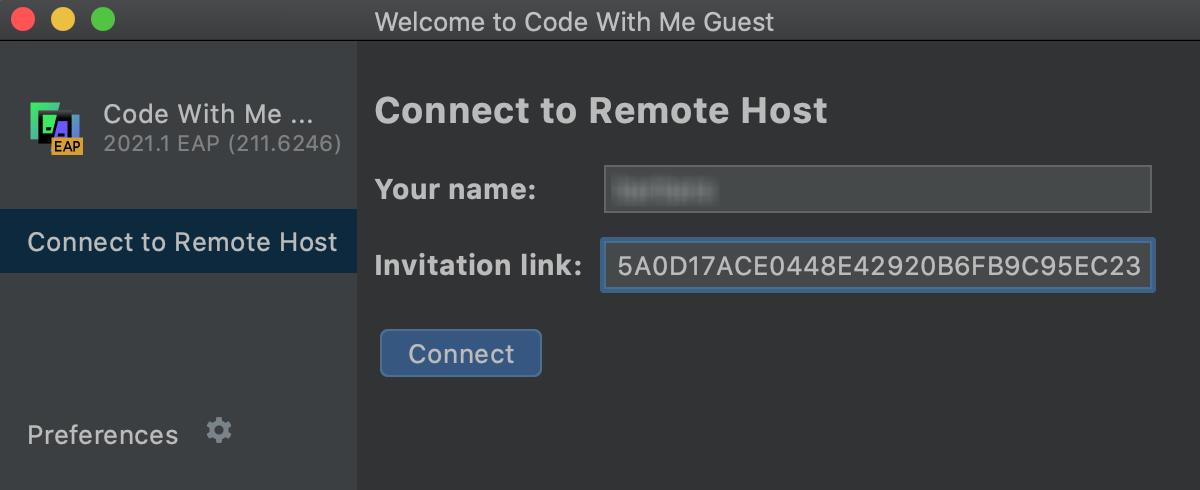 WebStorm Client welcome screen