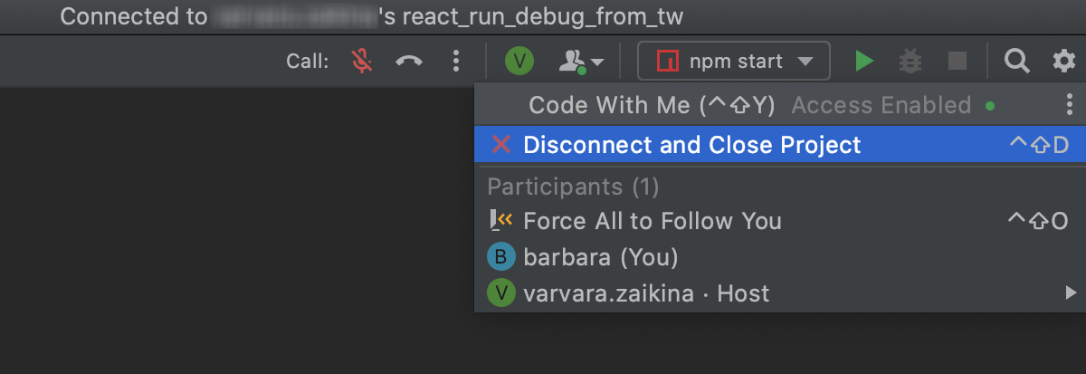 Disconnect and close the project