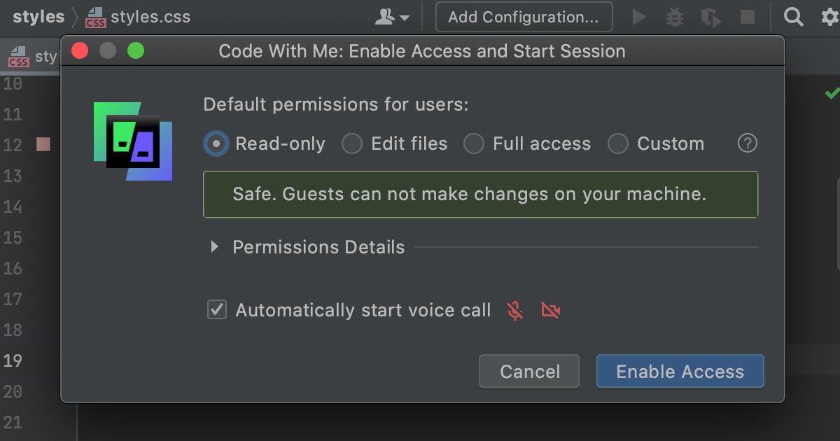 Enable Code With Me Access dialog