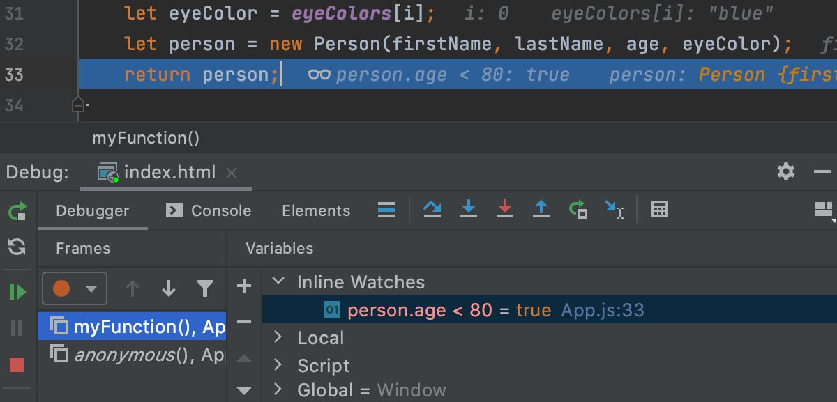 Inline watch in the Debug tool window
