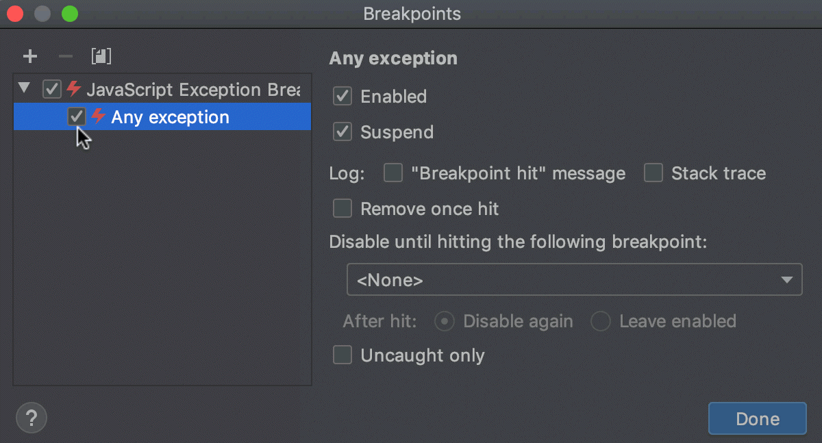 Exception breakpoint: Any breakpoint