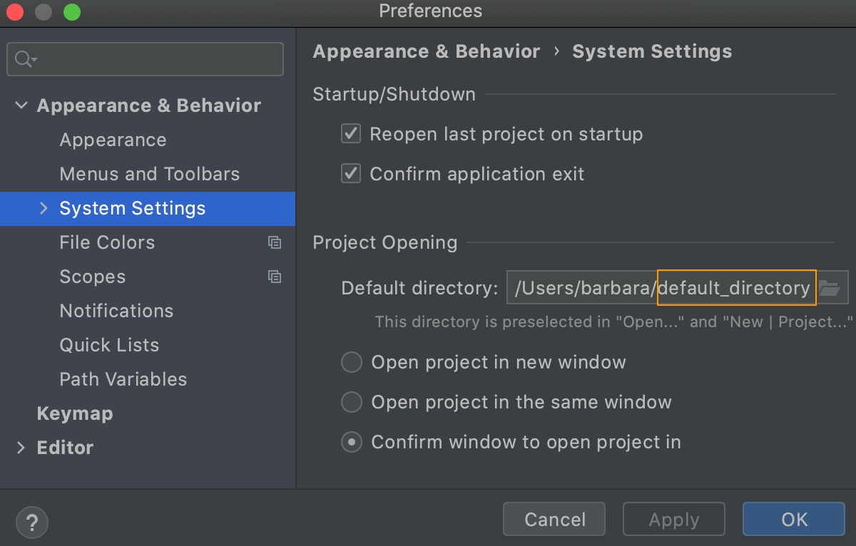 Changing the default location for projects