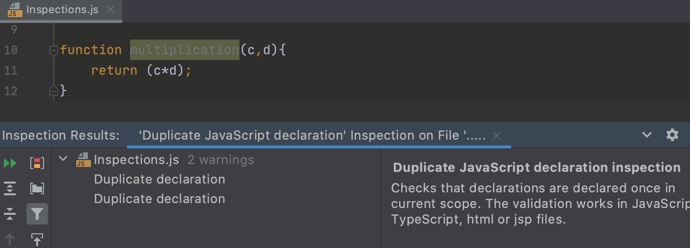 Run the Locate Duplicates inspection by name