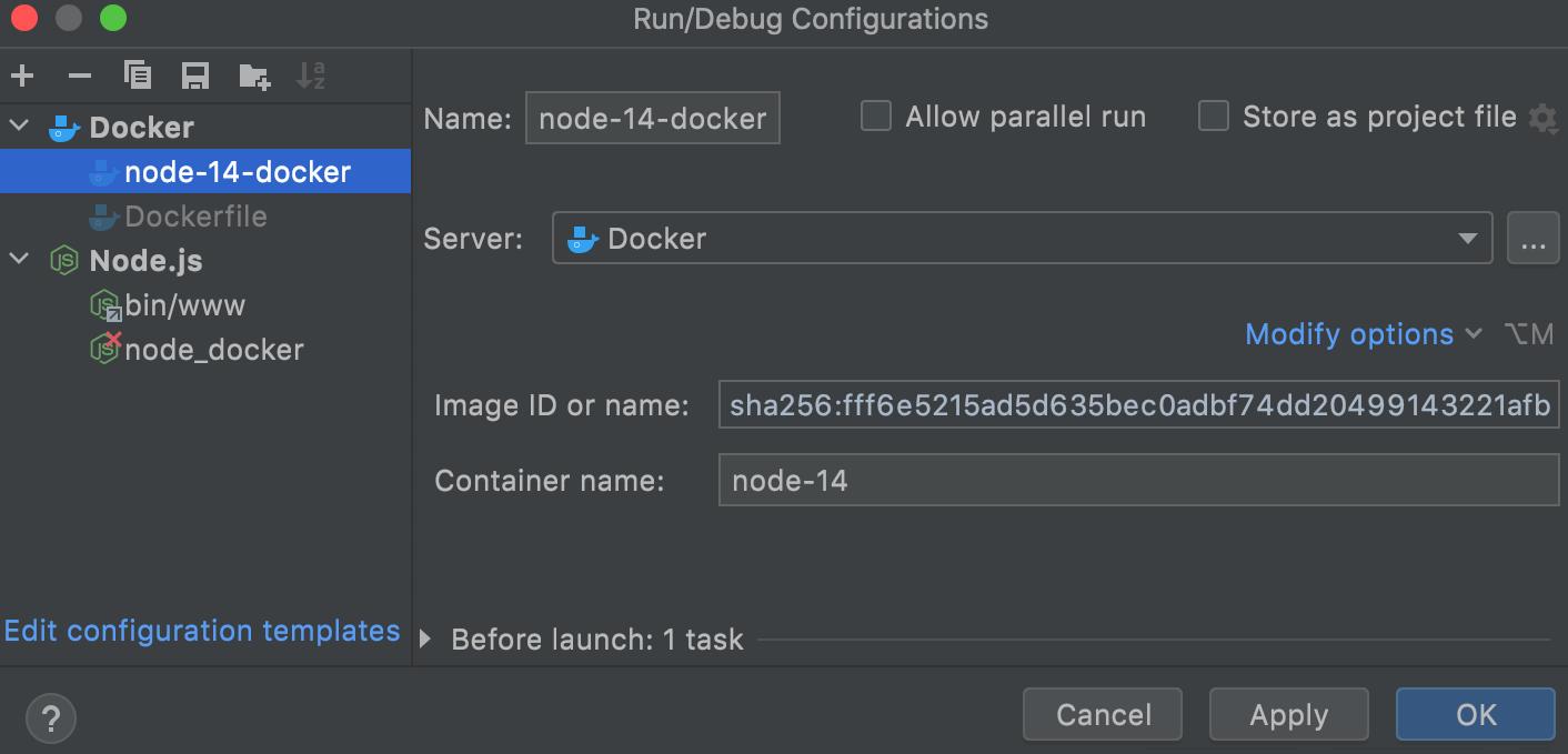 Docker Image run configuration dialog