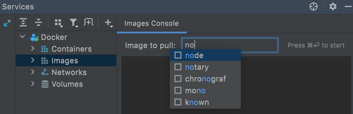 Docker tool window: pull image