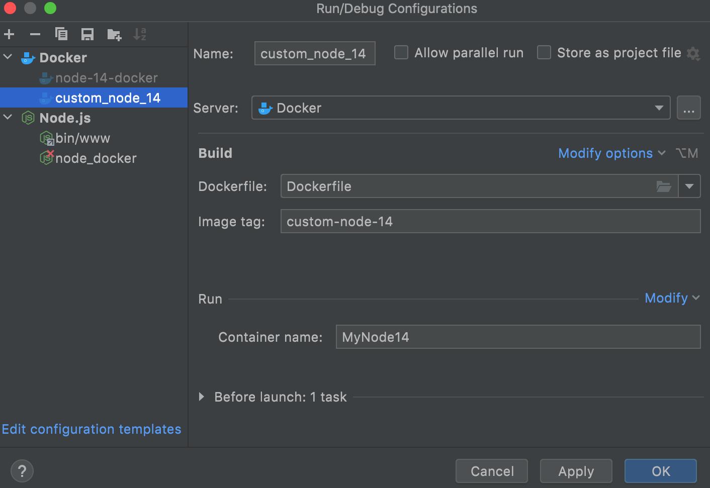 Dockerfile run configuration dialog