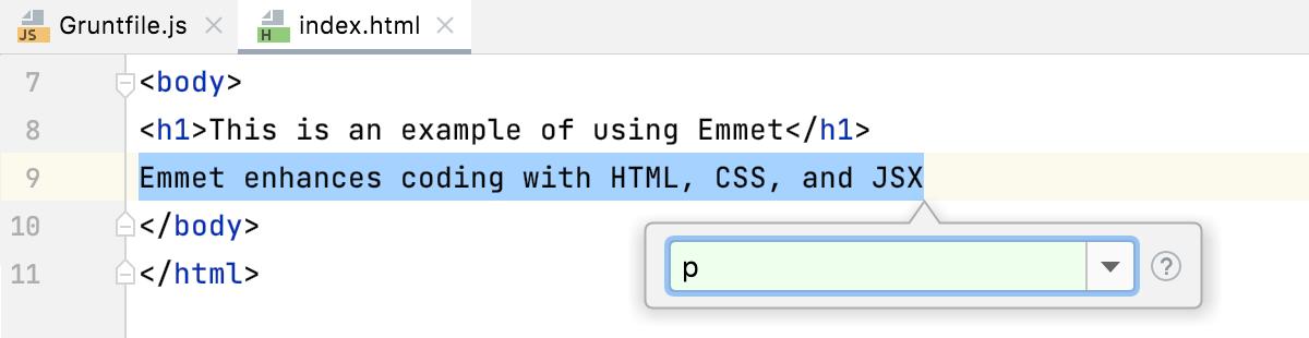 Emmet: type abbreviation