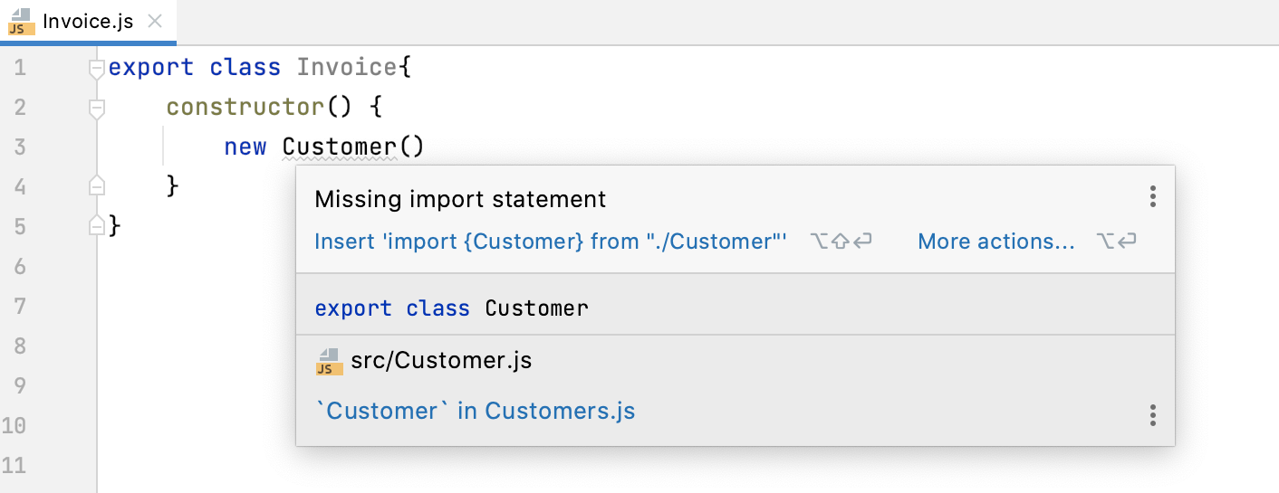 Auto import with quick-fix: information tooltip