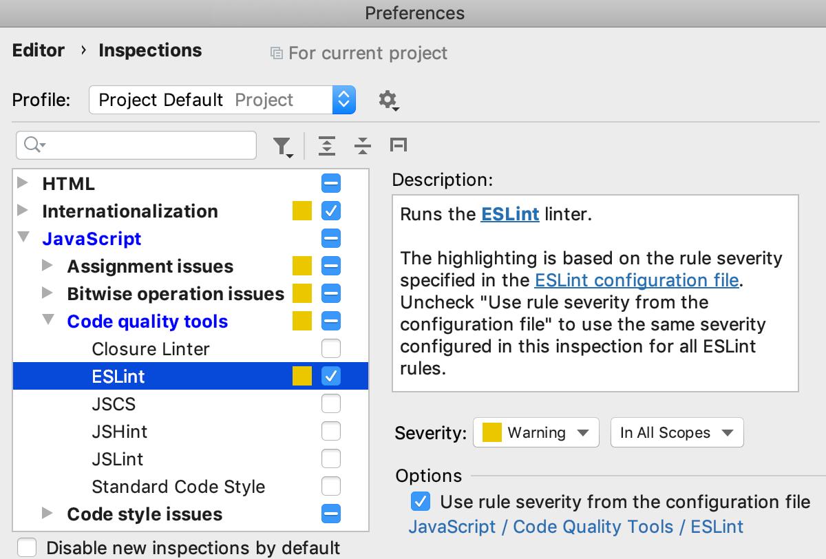 Specifying a custom severity level for ESLint