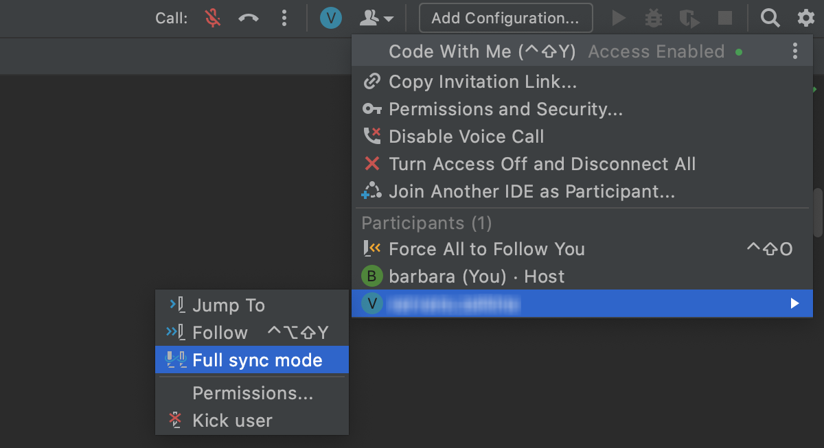 Select Full Sync Mode