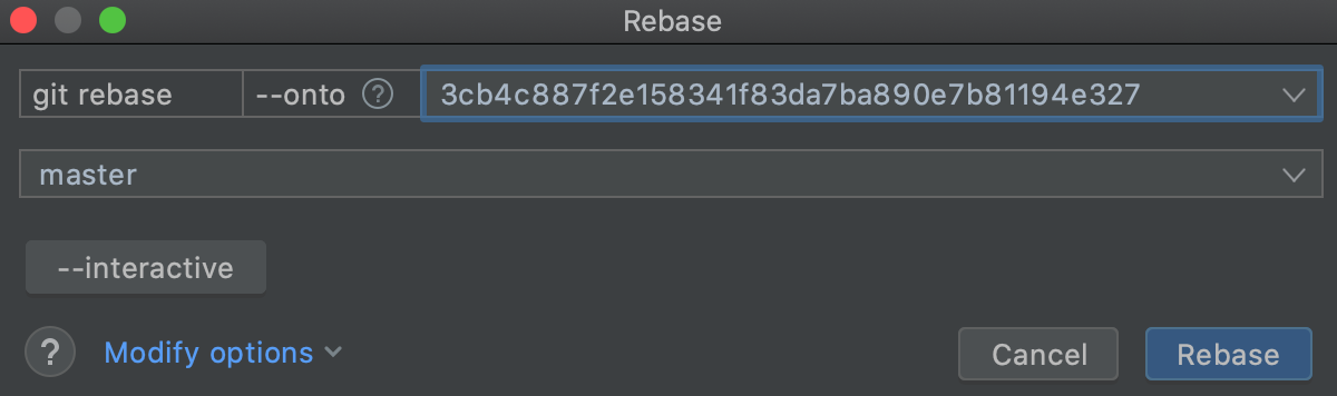 Specify commit hash with --onto