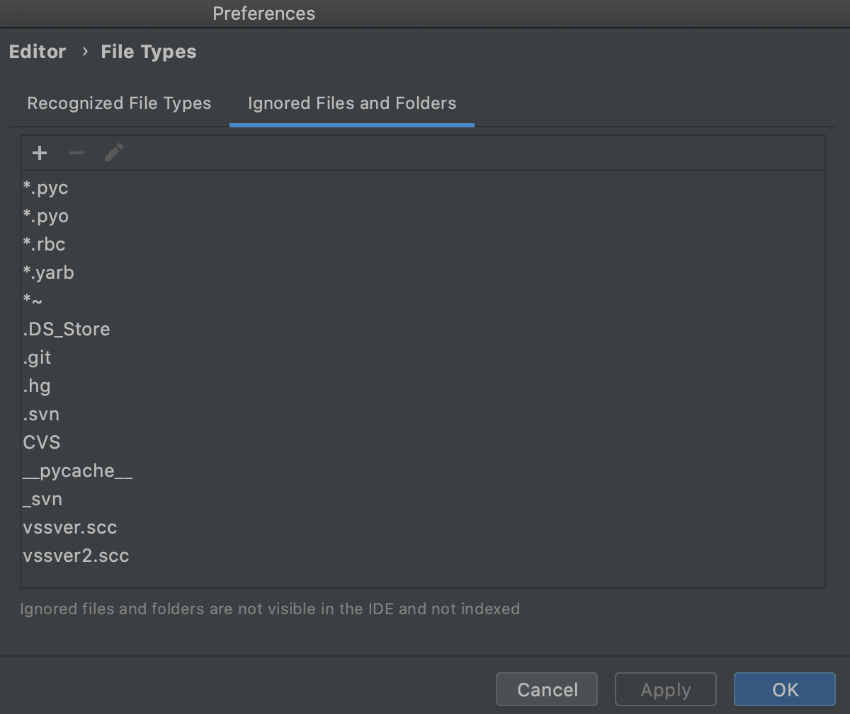Adding files and folders to the list of ignored items