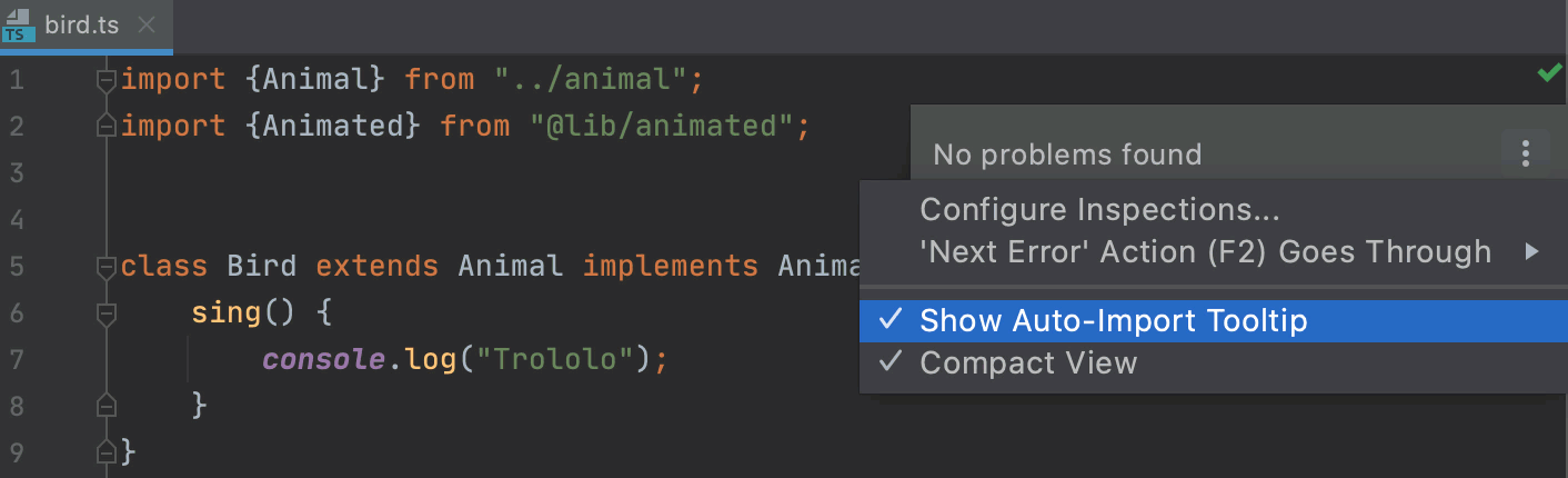 Disable auto-import tooltip