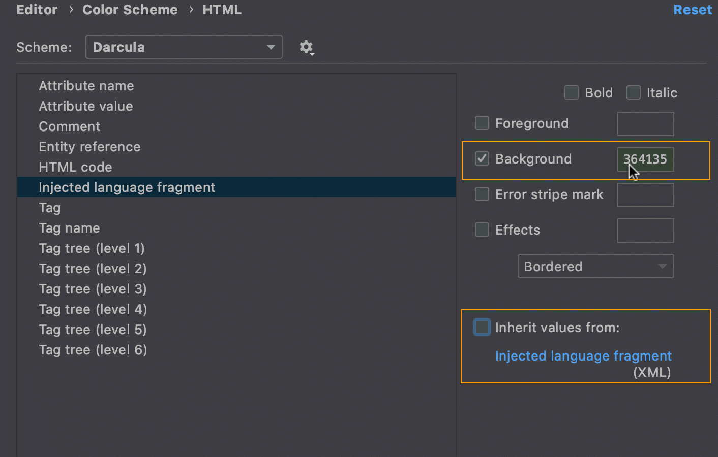 Configuring custom background for language injections