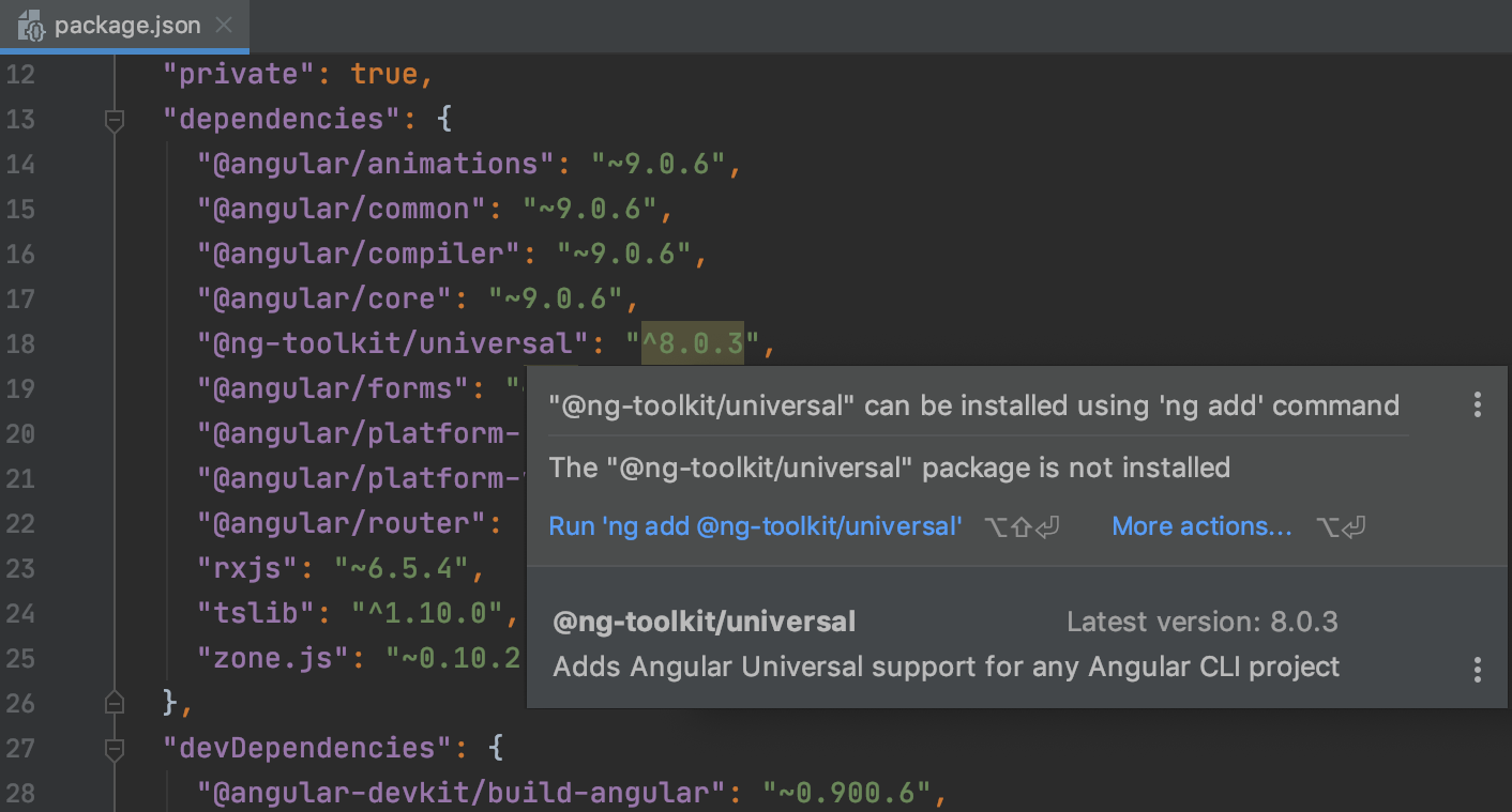 WebStorm suggests adding a dependency with ng add