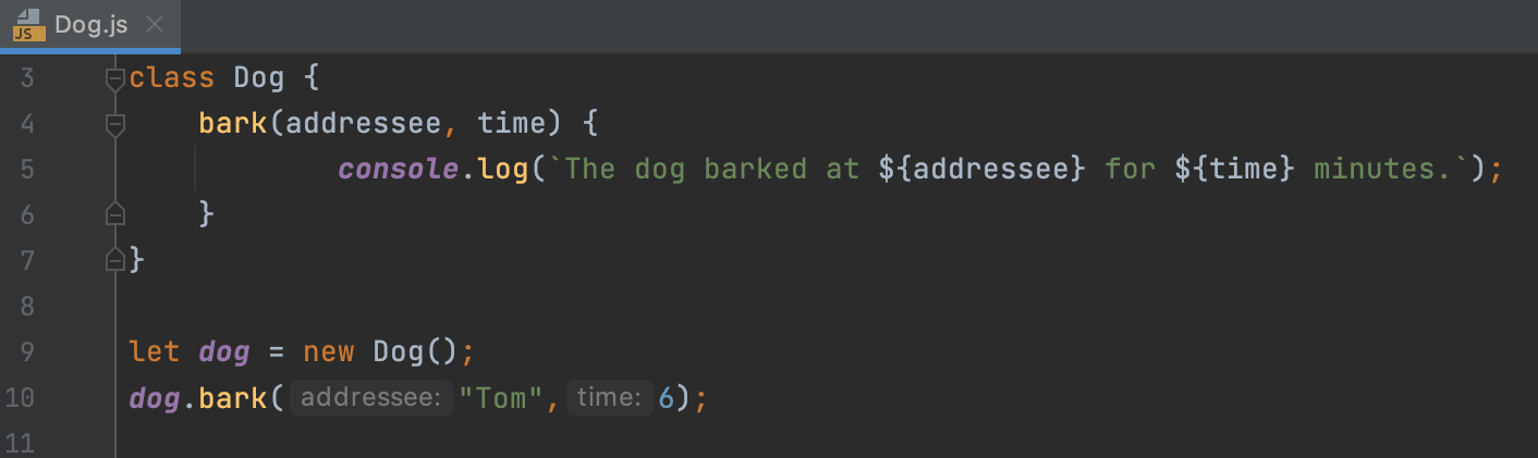 Parameter hints in the editor