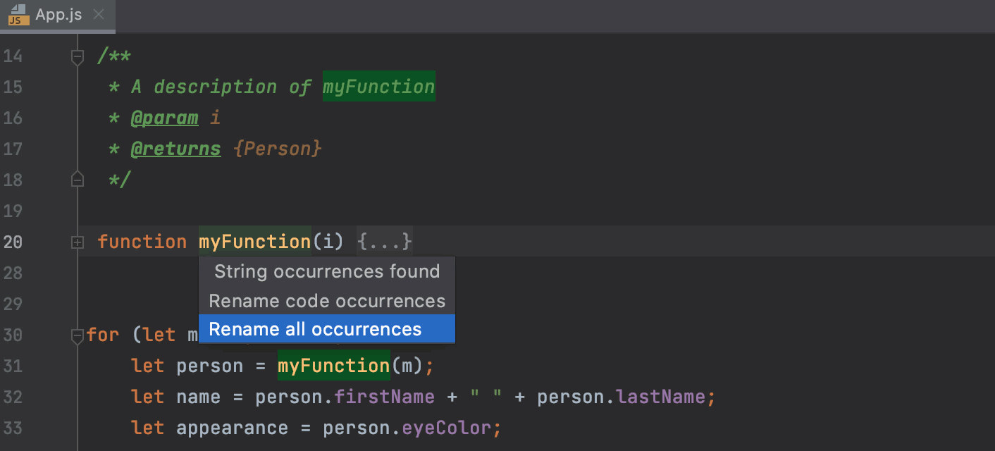 Rename a function