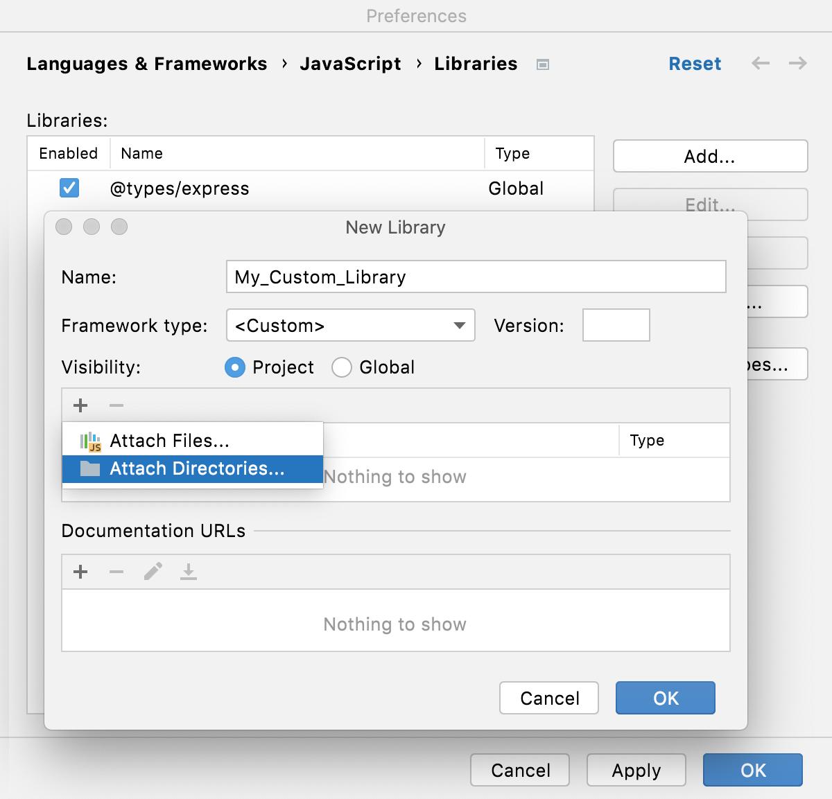 Configure custom library: Add files/folders