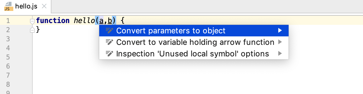 Destructuring with intention action: Convert parameters to object
